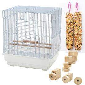 セキセイインコのための便利グッズセット (クオリス BIRD CAGE、ボルダリング おもちゃ、総合栄養食 Vitapol) 関東当日便