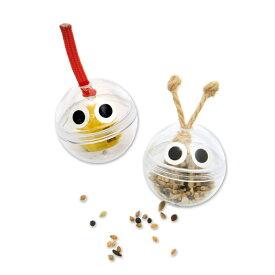 インコ用フォージングトイ コロコロボール 2個入 ちょんまげ&しょっかく 色おまかせ バードトイ 知育 おもちゃ 関東当日便