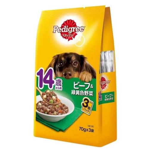 ペディグリー 14歳から用 ビーフ&緑黄色野菜 70g×3袋 6袋入り【HLS_DU】 関東当日便