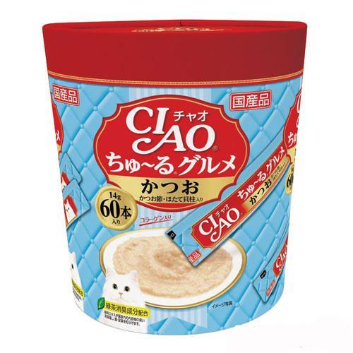 いなば CIAO(チャオ) ちゅ〜るグルメ かつお かつお節・ほたて貝柱入り 14g×60本 関東当日便