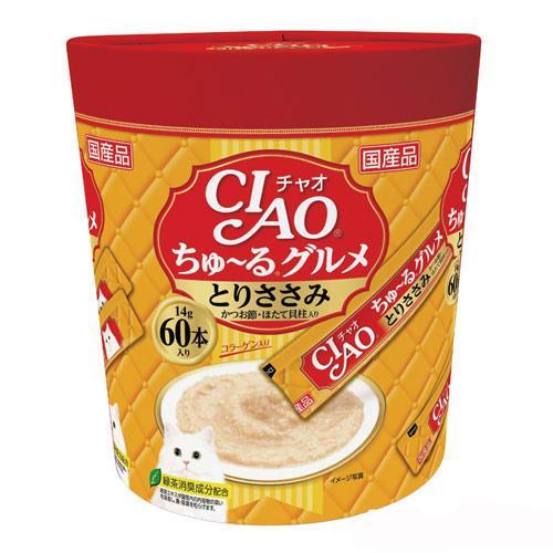 いなば CIAO(チャオ) ちゅ〜るグルメ とりささみ かつお節・ほたて貝柱入り 14g×60本 関東当日便