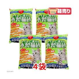 猫砂 常陸化工 トイレに流せる 木製猫砂 大粒 12L 4袋 お一人様1点限り 関東当日便