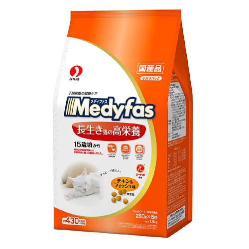 メディファス 長生き猫の高栄養 15歳頃から チキン&フィッシュ味 1.4kg(280g×5袋) 関東当日便
