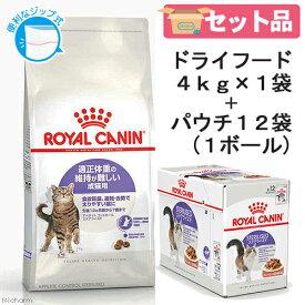 ロイヤルカナン 猫 適正体重を維持したい成猫セット ドライ4kg×1袋 ジップ付 + パウチ85g×12袋 沖縄別途送料 関東当日便