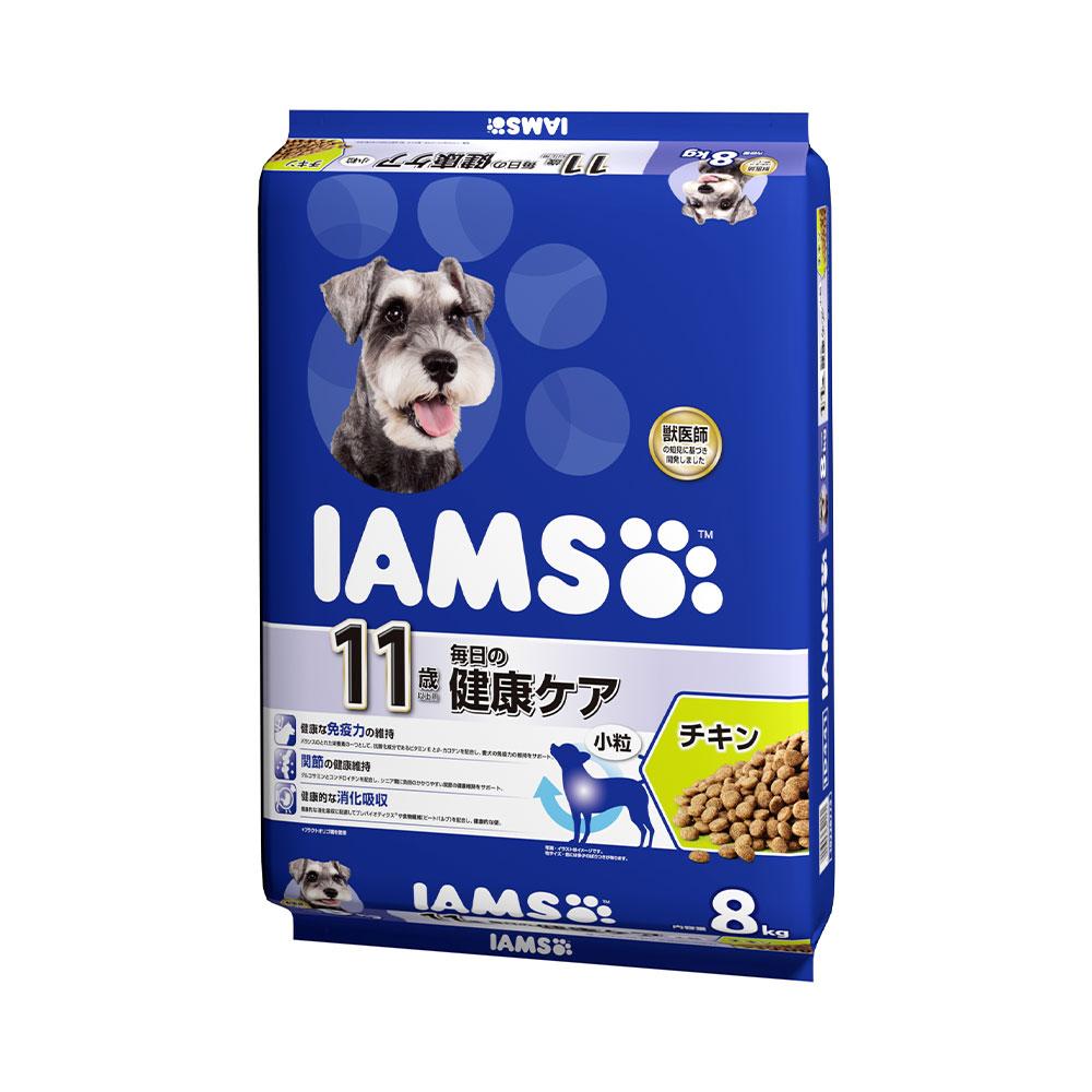 アイムス 11歳以上用 毎日の健康ケア チキン 小粒 8kg ドッグフード 正規品 IAMS お一人様3点限り 関東当日便