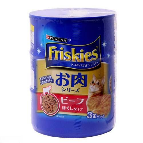 フリスキー缶 お肉シリーズ ビーフほぐしタイプ 155g×3缶 1箱12個(計36缶) キャットフード 関東当日便