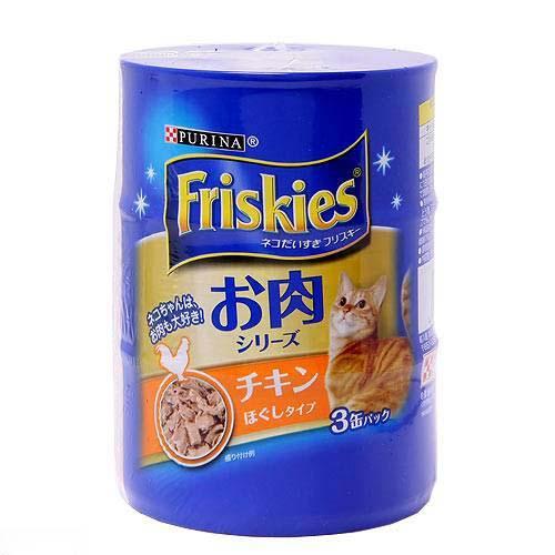フリスキー缶 お肉シリーズ チキンほぐしタイプ 155g×3缶 1箱12個(計36缶)キャットフード お一人様2点限り 関東当日便