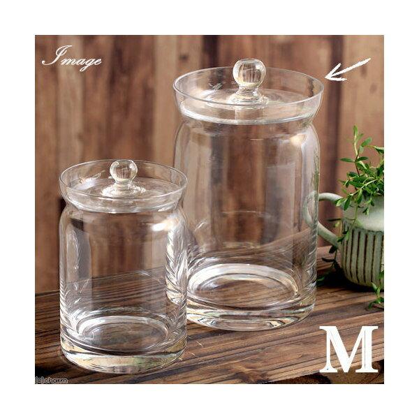 ガラス容器 蓋付ポット クリアー深型(M) コケ テラリウム ガラス インテリア 瓶 関東当日便