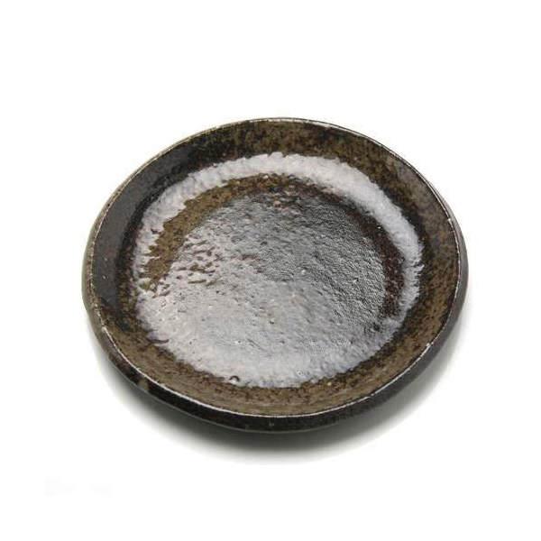 益子焼 苔受皿 浅小 炭化 丸 ミニミニ盆栽鉢 関東当日便