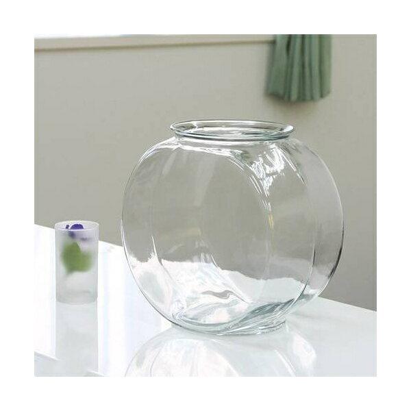 おしゃれなガラス製金魚鉢 太鼓鉢 大(7.6リットル) 関東当日便