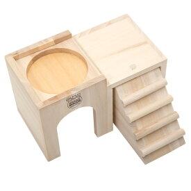 マルカン ハムちゃんの2階でごはん ハムスター ハウス 遊び場 木製 関東当日便