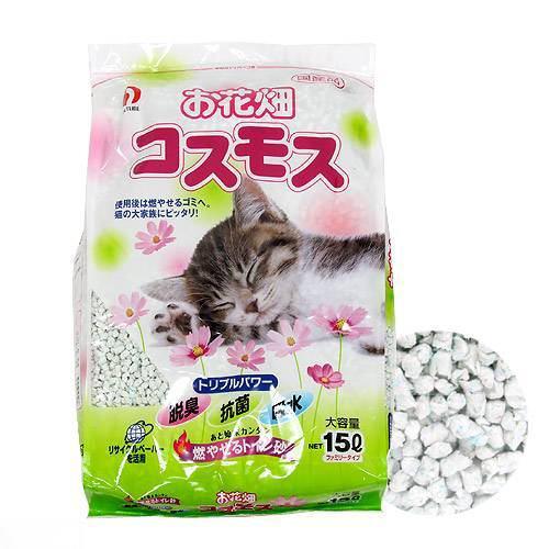 猫砂 お一人様3点限り お花畑 コスモス 15L 猫砂 紙 燃やせる 関東当日便