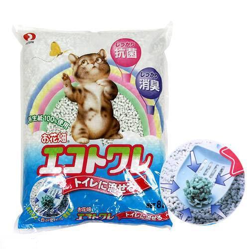 猫砂 お一人様6点限り お花畑 エコトワレ 8L 猫砂 紙 固まる 流せる 燃やせる 関東当日便