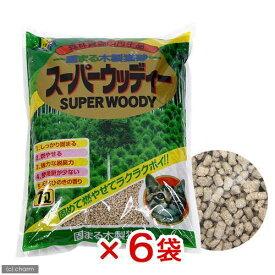 猫砂 お一人様1点限り 固まる木製猫砂 スーパーウッディー 7L 猫砂 おがくず 固まる 燃やせる 6袋入り 関東当日便
