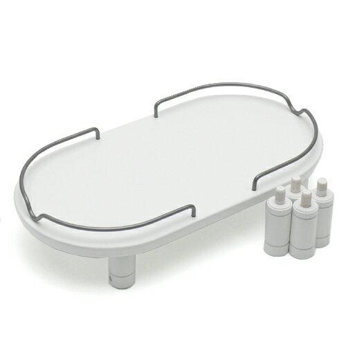 リッチェル ペット用 木製テーブル ダブル ホワイト 犬用・猫用食器台 トレー 関東当日便