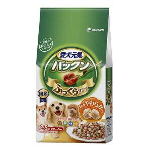 愛犬元気 パックン 全成長段階用 ビーフ・緑黄色野菜・小魚・チーズ入り 2.5kg(500g×5袋) 関東当日便