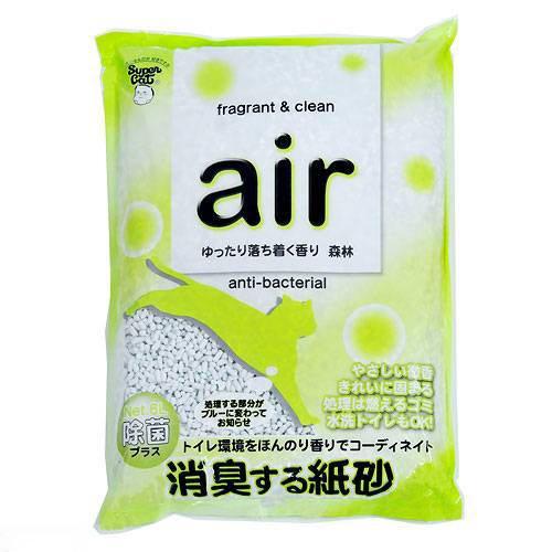 お一人様1点限り 箱売り スーパーキャット air消臭する紙砂 森林 6L 1箱6袋 猫砂 紙 関東当日便