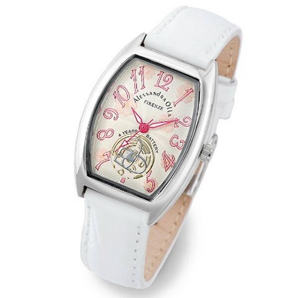 Alessandra Olla アレッサンドラオーラ 腕時計 AO-4850-WH レディース 桜柄【セレブ】【ギフト】【記念日】【ビジネス】【誕生日】 アレサンドラオーラ 時計