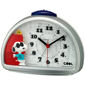 【正規品】RHYTHM リズム時計 クロック CITIZEN シチズン 4SE563MS19 目覚まし時計 めざまし時計 置時計 JOE COOL スヌーピー