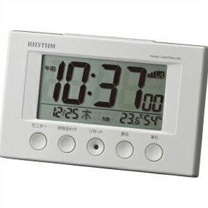 リズム時計 クロック 8RZ166SR03 電波目覚まし時計 フィットウェーブスマート