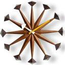 時計 GEORGE NELSON ジョージネルソン ポリゴンクロック ウォールナットブラウン ジョージ・ネルソン サンバースト 家具 デザイナーズ 太陽 壁 掛...