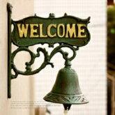 ドアベル【WELCOME】ウェルカムアンティーク風壁掛式ドアチャイム