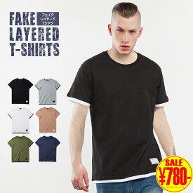 Tシャツ メンズ 半袖 フェィクレイヤード 無地 綿 プリント 大きいサイズ メンズ Tシャツ 半袖 半袖Tシャツ おしゃれ ロング丈 白 レイヤード ティーシャツ Uネック 大きいサイズ オーバーサイズ ビッグT アメカジ クルーネック ストリート コットン 夏 原宿