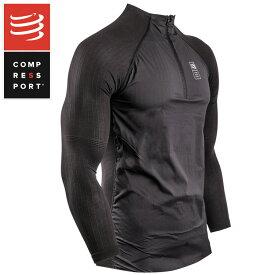 コンプレスポーツ COMPRESSPORT HBPO ハイブリッド プルオーバー Hybrid Pullover Tshirt メンズ トップス ブラック マラソン プロマラソン ランニング コンプレッション 加圧 ラン ランニング トライアスロン triathlon