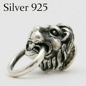 【シルバーコンチョ】シルバー925製 ライオン ドロップハンドル カスタムウォレットパーツ 獅子 silver925 ジョイントパーツ ウォレットチェーン 装着に