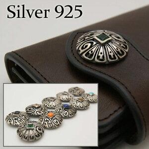 コンチョ 【シルバーコンチョ】 silver925 シルバーボタン アラベスク燻し仕上げ ホピスタイル Silver925コンチョ