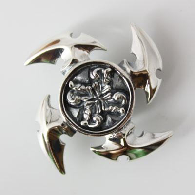 silver925 シルバーコンチョ シルバー925 卍刃 手裏剣コンチョ カスタムウォレットパーツ 30mm