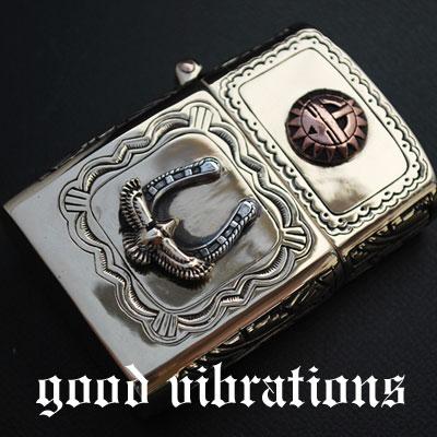 【送料無料】good vibrations グッドバイブレーション 真鍮ブラス・サンフェイス 幸運を呼ぶ ホースシュー 馬蹄 イーグル オイルライター/真鍮/ブラス/シルバー925/シルバーアクセサリー【レザーワークス カオス】