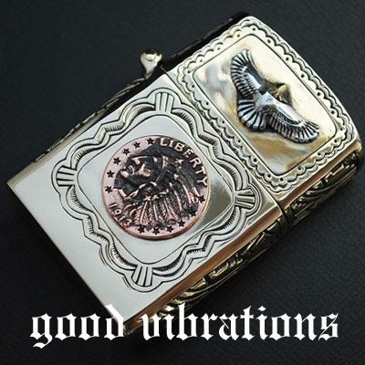 【送料無料】good vibrations グッドバイブレーション 真鍮ブラス・イーグル リバティーインディアンコイン オイルライター/真鍮/ブラス/シルバー925/シルバーアクセサリー【レザーワークス カオス】