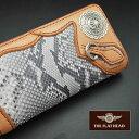【即納】【手縫い】FLATHEAD/フラットヘッド 財布 ウォレット≪ダイヤモンドパイソン STOCKBURG(ストックバーグ) 多脂革 ロングウォレ…