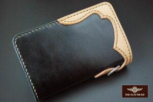 【手縫い】【即納】FLATHEADフラットヘッド財布≪STOCKBURGストックバーグFW-70小銭差し込み式ミディアムウォレット多脂革ブラック/タン≫ウォレットメンズ長財布本革かっこいいおしゃれ