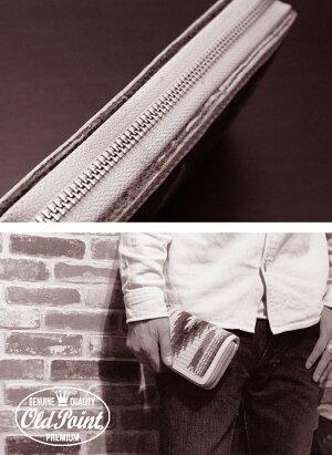 財布/OLDPOINTオールドポイント≪ElPasoエルパソ社製オルテガチマヨ柄ネイティブ柄ラグ生地使用ブルー系タイプBラウンドファスナーウォレット≫ラウンドジッパー/ラウンドジップ/カウレザー/財布/本革/レザーウォレット【楽ギフ_包装】【送料無料】