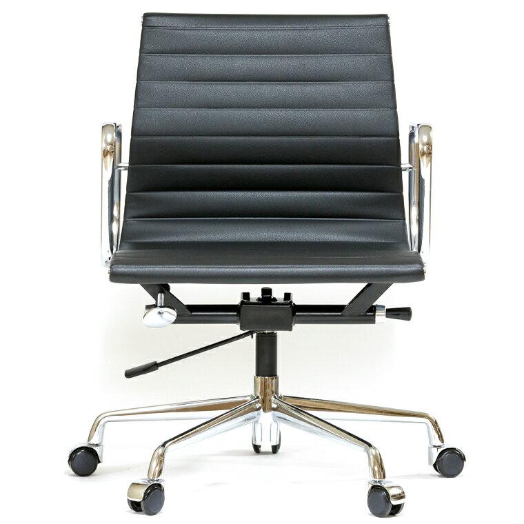 イームズ アルミナムチェア ショートバック ローバック フラットパッド ブラック オフィスチェア おしゃれ かっこいい デザイナー ミッドセンチュリー チェア 椅子 リプロダクト ジェネリック eames