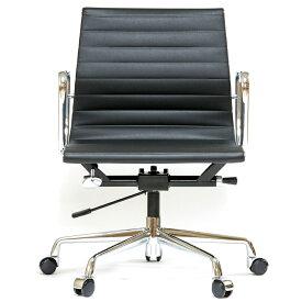 イームズ アルミナムチェア ショートバック ローバック フラットパッド ブラック アルミナム オフィスチェア おしゃれ かっこいい デザイナー ミッドセンチュリー チェア 椅子 リプロダクト ジェネリック eames アルミナムグループ