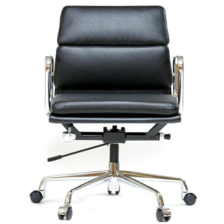 イームズ アルミナムチェア ショートバック ローバック ソフトパッド ブラック オフィスチェア おしゃれ かっこいい デザイナー ミッドセンチュリー チェア 椅子 リプロダクト ジェネリック eames