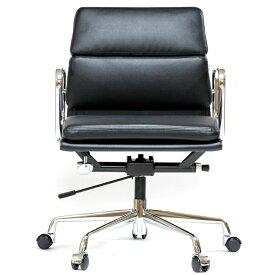 イームズ アルミナムチェア ショートバック ローバック ソフトパッド ブラック アルミナム オフィスチェア おしゃれ かっこいい デザイナー ミッドセンチュリー チェア 椅子 リプロダクト ジェネリック eames アルミナムグループ