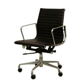 イームズ オフィスチェア アルミナム ミドルバック フラットパッド ブラック eames おしゃれ かっこいい デザイナー ミッドセンチュリー チェア 椅子 リプロダクト ジェネリック 黒