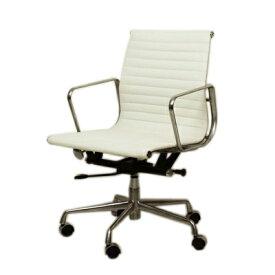イームズ オフィスチェア アルミナム ミドルバック フラットパッド ホワイト eames おしゃれ かっこいい デザイナー ミッドセンチュリー チェア 椅子 リプロダクト ジェネリック 白