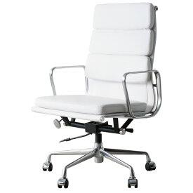 イームズ アルミナムチェア オフィスチェア ハイバック ソフトパッド ホワイト PVC アルミナムグループ eames おしゃれ かっこいい デザイナー ミッドセンチュリー チェア 椅子 リプロダクト ジェネリック 白