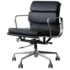 イームズ アルミナムチェア オフィスチェア ミドルバック ソフトパッド ブラック PVC アルミナムグループ eames おしゃれ かっこいい デザイナー ミッドセンチュリー チェア 椅子 リプロダクト ジェネリック 黒