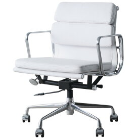 イームズ アルミナムチェア オフィスチェア ミドルバック ソフトパッド ホワイト PVC アルミナムグループ eames おしゃれ かっこいい デザイナー ミッドセンチュリー チェア 椅子 リプロダクト ジェネリック 白