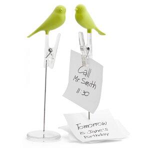 メモスタンド おしゃれ メモホルダー QUALY ノートスパロウ グリーン 緑 クリップ メモ クオリー かわいい 鳥 小鳥 とり トリ