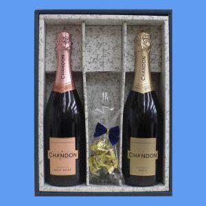 シャンドン ブリュット(スパークリングワイン・オーストラリア)750ml(白・ロゼ)2本&グラスセット(チョコレート入り) ≪かぶせ箱入り≫