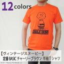 【ヴィンテージスヌーピー】定番 BASIC チャーリーブラウン 半袖Tシャツ(メンズ・レディース)