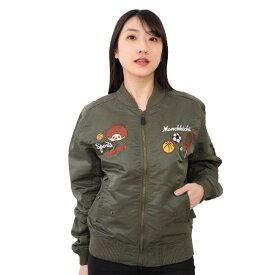 モンチッチ monchihichi MA-1 ミリタリー レディース メンズ 兼用 アウター プチプラ 刺繍 カーキ ブルゾン