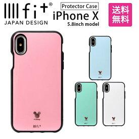 ディズニー IIIIfit イーフィット iPhone X 5.8インチモデル対応 アイフォンX ストラップホール付き ミッキーマウス ピンク スマホカバー| ケース かわいい スマホケース キャラクター グッズ xs iphonex iphonexs カバー アイフォンxs ハード ハードケース ディズニーケース